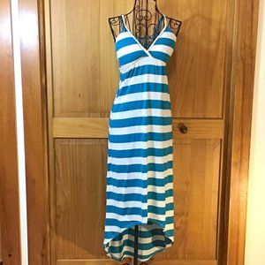 Teal & White Striped Maxi Dress with Lace Back